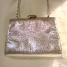 Silver leatherette evening bag wrist chain prom perfect unused preowned  ll2877