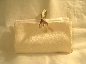 Lurex jacquard and satin travel jewelry pouch bag perfect pre-owned ll2902