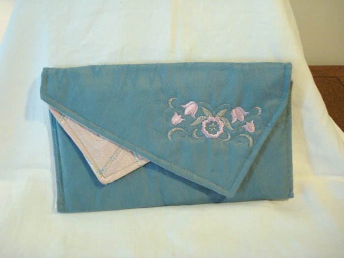 Handmade lingerie case jacquard embroidery pink blue pre-owned ll2912
