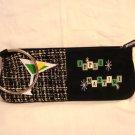 MaggiB Apple Martini wristlet purse or pencil case bangle hanger black excellent pre-owned ll2922