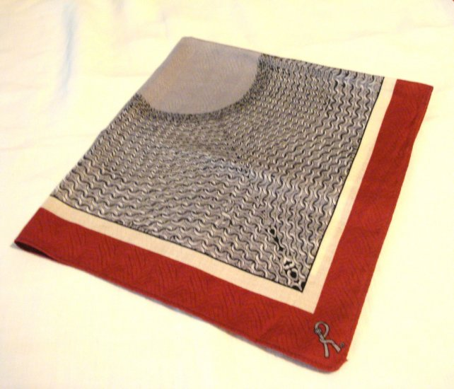 Man's printed cotton hankerchief burgundy gray chain mail signed R vintage ll2935