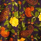 Navy brown and green paisley and roses large square scarf 30 inches VG  vintage ll2959