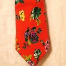 Liz Claiborne Accessories men's neck tie floral on red excellent pre-owned ll2996