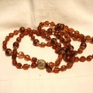 Double strand necklace rootbeer beads West Germany vintage ll3024
