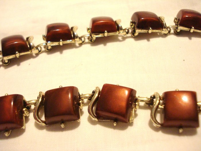 1950s Ncklace 13 stations brown plastic tiles in silver tone extender chain ll3027