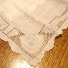 Madiera embroidery threadwork antique fancy wedding white linen hanky excellent  ll3029