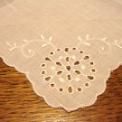 White linen hanky whitework embroidery scalloped edge eyelets vintage ll3056