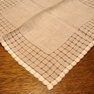 White linen hanky extensive threadwork frame antique ll3059
