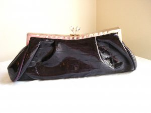 Plum faux patent croc stamped evening bag clutch hand shoulder straps unused with tags ll3085