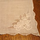 Antique handmade white linen hanky whitework threadwork wedding  ll3126