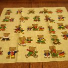 Teddy bear family bandanna bears in clothing on tan cotton preowned ll3134