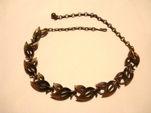 Coro copper link necklace extender chain textured leaves vintage ll3144