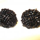 Coro love knot earrings tiny black beads screwback vintage  ll3153
