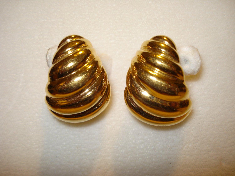 Napier shrimp curled gold plate demi hoop earrings clip screwbacks unused vintage jewelry  ll1046