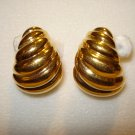 Napier shrimp curled gold plate demi hoop earrings clip screwbacks unused vintage jewelry  ll1046