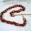 Tortoise plastic chain link belt with extender chain 31 inches vintage ll3167