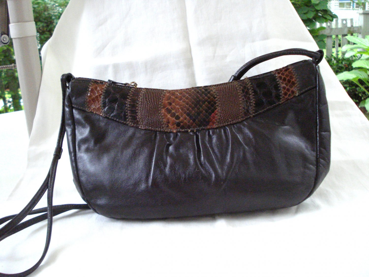 Margolin brown leather shoulder bag mixed reptile trim spaghetti strap great vintage  ll3169