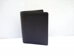 Leather mini wallet dark brown unisex preowned  ll3179