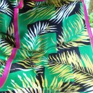 Monique Martin tropical foliage long silk scarf magenta green vintage ll3195
