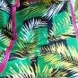 Monique Martin tropical foliage long silk scarf magenta green vintage ll3195