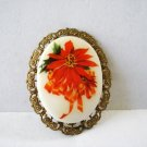 Poinsettia Christmas cameo pin brooch gold tone filligree W Ger.  vintage ll3196