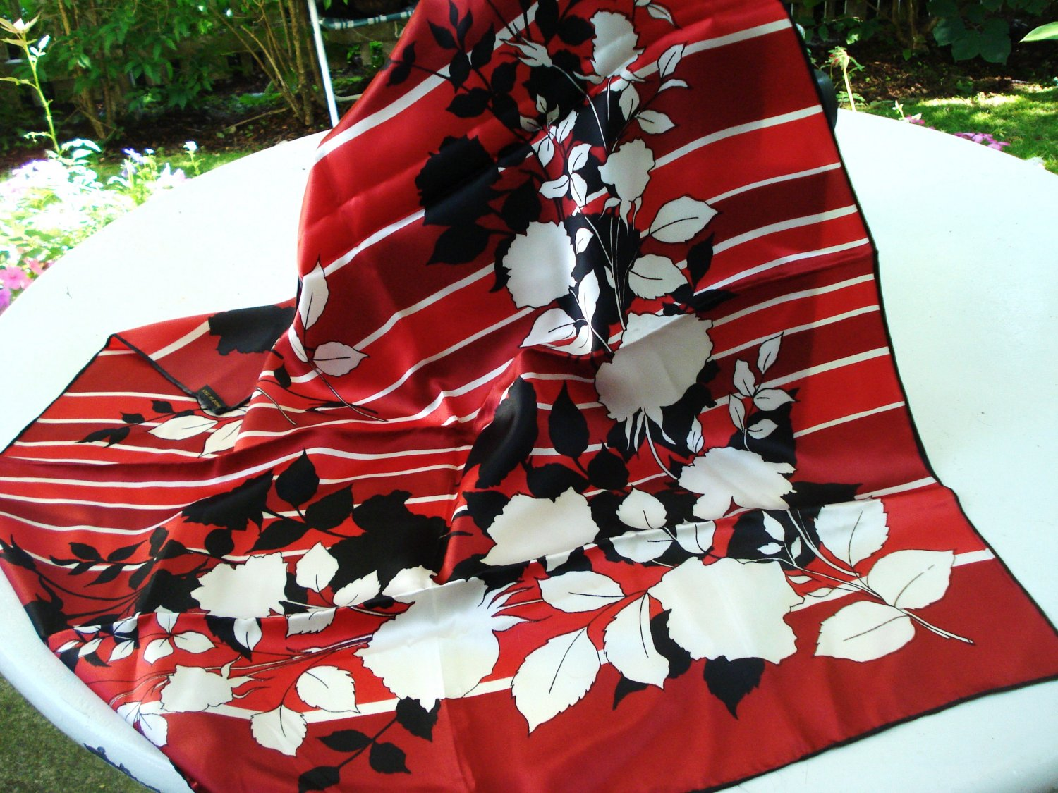 Acetate satin scarf large square shadow flowers on reds made Italy vintage ll3197