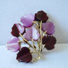 Coro purple and lilac leaves pin brooch thermoset plastic silver tone perfect vintage ll3199