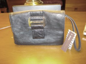 Dana Buckman black wristlet clutch large faux buckle new with tags ll3220