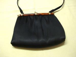 Black satin evening bag faux tortoise trim shoulder strap vintage ll3236