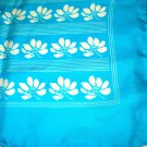 Large silk square turquoise white 30 inches rolled hem vintage ll3243