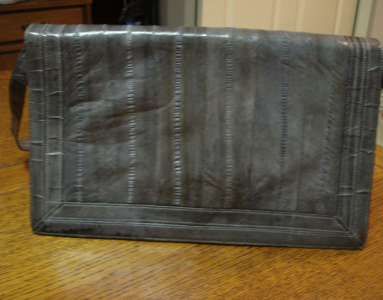 Gray eelskin clutch purse or shoulder bag vintage detachable strap ll3286