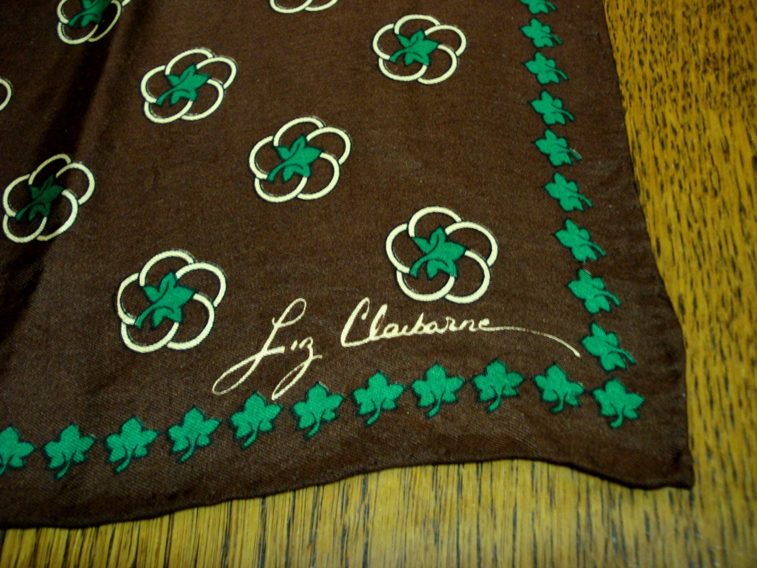 Liz Claiborne dark brown silk scarf square green leaves rolled hem vintage ll3287