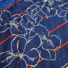 Navy blue with red white outlined flowers silk scarf square vintage ll3291