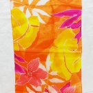 Liz Claiborne long silk scarf orange, fuschia, yellow tropical foliage vintage ll3297