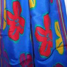 Liz Claiborne bias cut long silk scarf royal blue yellow red flowers vintage ll3304