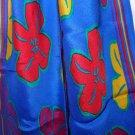 Liz Claiborne bias cut long silk scarf royal blue yellow red flowers vintage ll3304