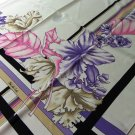 Large dramatic Polyester scarf orchids 36 inches square Damla white lavender pink vintage ll3330