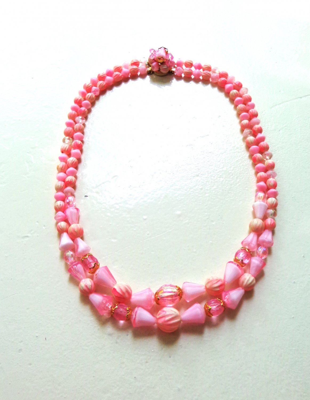 2 Strand plastic bead necklace pink blush salmon vintage ll3331