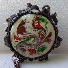 Swirled enameled pendant framed on chain vintage ll3343