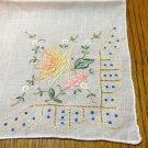 Handmade embroidered linen hanky rolled hem tiny delicate threadwork vintage ll3346