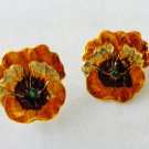 2 Pansy stick or dress pins golden metallic color sweet vintage ll3380