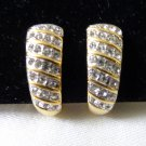 Monet rhinestones and gold plate clip earrings shrimp style perfect vintage ll3387