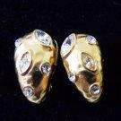Oscar de la Renta rhinestones and gold plate clip earrings shrimp style perfect vintage ll3388