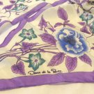 Oscar de la Renta bias cut long scarf purple blue floral on white silk vintage ll3393