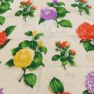 Club 7 Echo square silk scarf botanical floral on white black border vintage ll3394