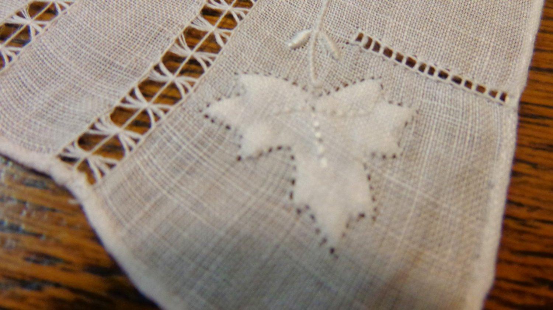 All handmade white linen hanky threadwork applique weddings or tuck in evening bag ll3411