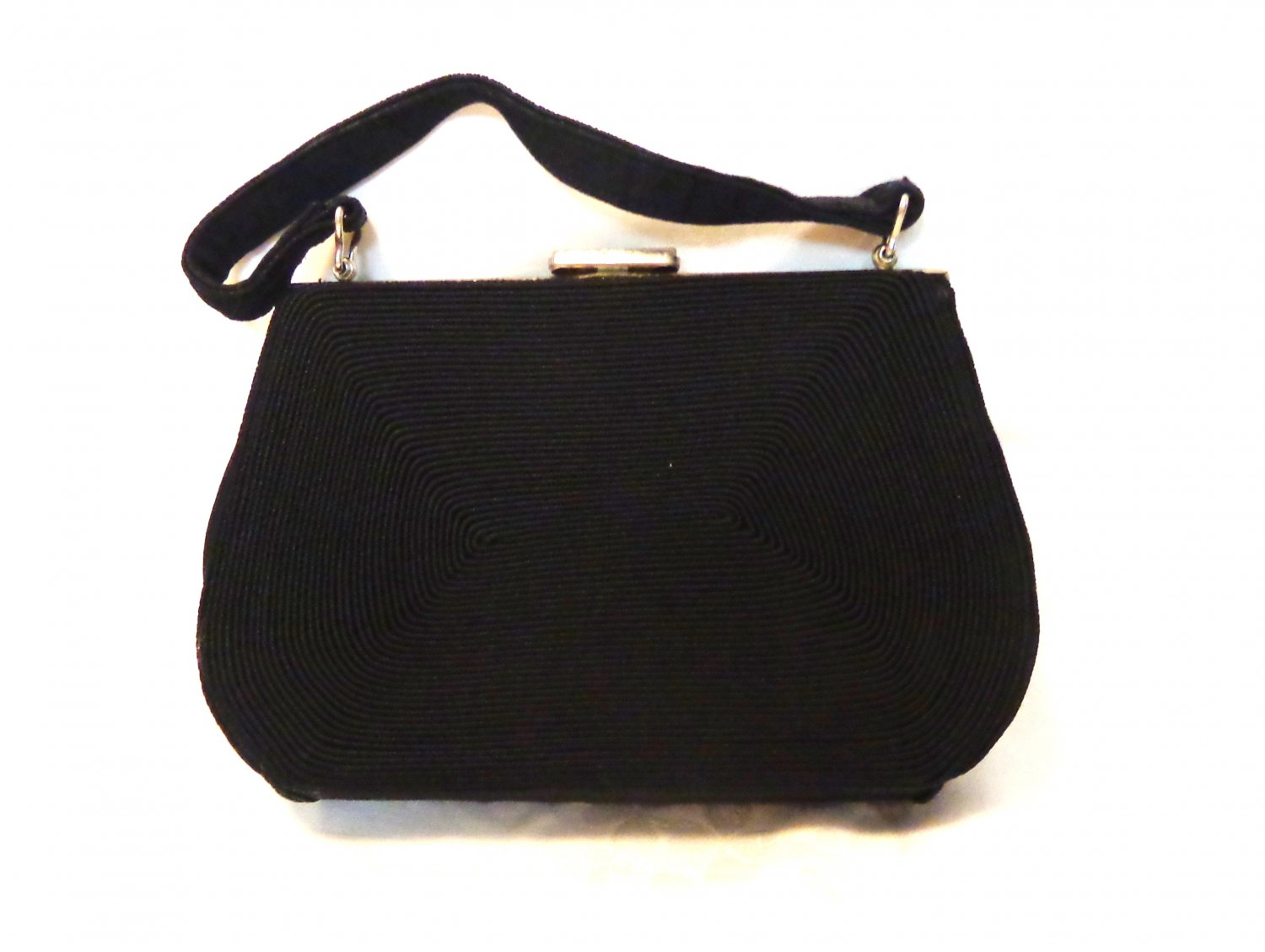 Gold Seal corde dressy black handbag Art Deco vintage fashion accessories ll3417