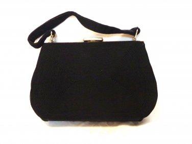 Gold Seal corde dressy black handbag Art Deco vintage fashion accessories ll3417