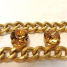 Heavy citrine and bronze chain link belt adjustable to 40 inches vintage ll3424