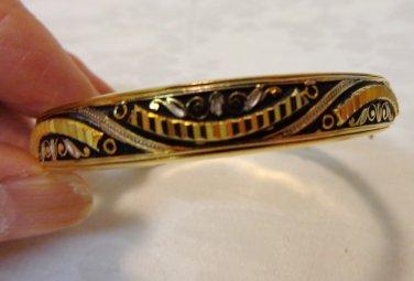 Damasquinado de Toledo hinged bangle bracelet vintage ll3425